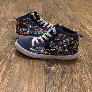 Cat & Jack Blue Sequin High Tops Sneakers Size 1